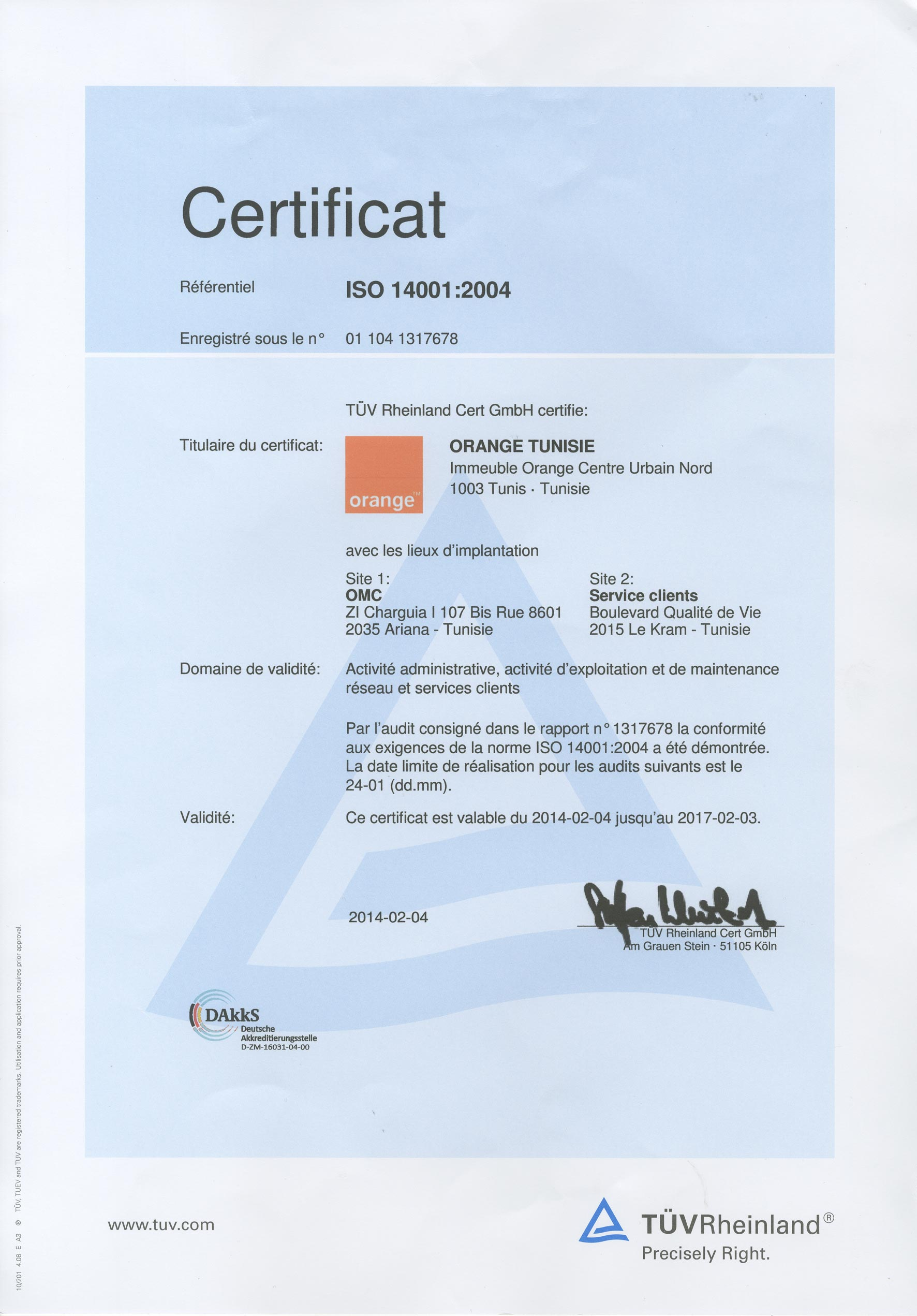 iso14001, is, 14001, orange tunisie